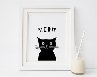 Cat printable wall art, Nursery print, Baby Girl Gift, Cat Meow Print, Nursery Decor Cat, Black and White Print, Cat Wall Art, Kids Decor