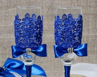 Wedding Glasses, Royal Blue Wedding, Champagne Glasses, Wedding Decor, Wedding Flutes