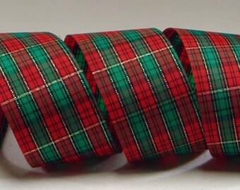 2.5 inchTartan Plaid Ribbon ~ Red and Green Plaid Ribbon ~ Gift Wrapping Ribbon ~ 5 Yards