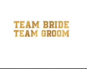 team bride team groom wedding gold foil clip art svg dxf file instant download silhouette cameo cricut digital scrapbooking commercial use