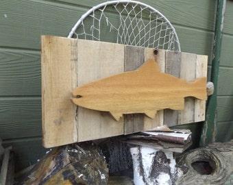 Wooden Fish Wall Decor 4 hook coat rack. fish wall coat rack. wood fish coat rack.