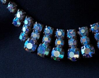 Vintage Ice Blue Rhinestone Necklace