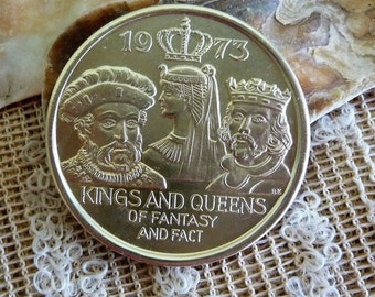1973 - Kings & Queens of Fantasy and Fact --King of Carnival New Orleans Mardi Gras Token / Coin Souvenir