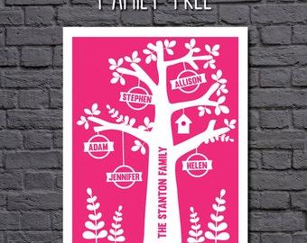 Digital File - Personalised Family Tree Art - custom family tree wall art in any colour - digital file to print