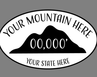 Custom Mountain Sticker (+ALTITUDE) (Climbing, Hiking, Biking...)