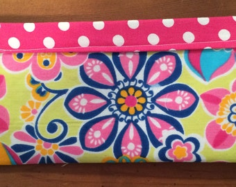 Small Pink/Yellow/Blue Print Cosmetic Bag