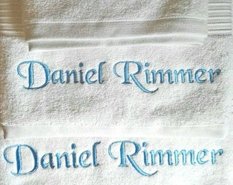 Personalised White Bath Towel, Luxury Egyptian towels 700 gsm
