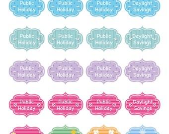 20 x Public Holiday Daylight Savings Winter Summer Spring Autumn Season Reminder Stickers Planner Diary Calendar