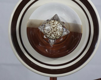 Brown and Cream Plate Flower