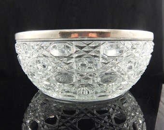 Vintage Pressed Glass Bowl with Silver Plate Rim, Made in England, 9 1/2 Wide, Fruit Bowl, Salad Bowl