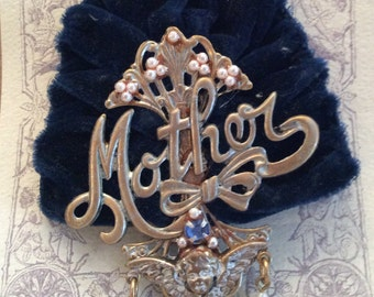 Victorian Mother Blue Velvet Brooch