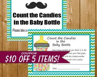 Mustache Baby Shower Games Count Candies in Bottle, Aqua Blue Green Little Man Mustache Shower Games Boy, Printable Instant Download