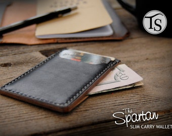 The Spartan - Slim, Minimalist Leather Wallet - Color: Black