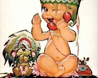 "1960's Bell Telephone vintage magazine ad  ""Honest Injun"" baby talking long distance"