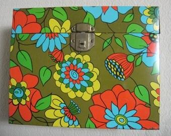 Flower Power File Box, Retro, Vintage 1970's