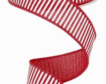 "1.5""X 10 yards Horizontal Stripes/Royal  Red/White RG178024"
