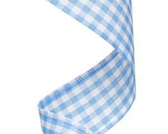 "1.5""X10yd Gingham Check  Turquoise Blue/White  RG01048NL"