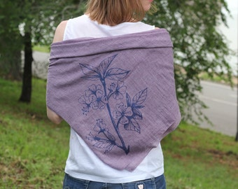 Floral print square scarf. Large square scarf. Lilac scarf. Women's scarf. Cotton scarf. Summer scarf.