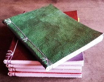 Unique Textured Green Wrap Around Leather Sketchbook Japanese Stab Binding