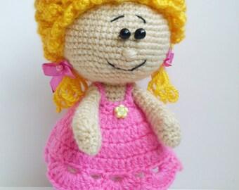 Crochet doll Crochet blonde doll Blonde doll Art Dolls present for girls Amigurumi doll