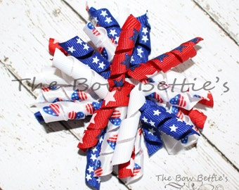 Patriotic Korker Bow, Patriotic Hair Bow, Red White and Blue Bow, Curly Hair Bow
