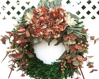 Autumn Wreath / Boxwood Wreath / Fall Floral Wreath / Thanksgiving Wreath / Farmhouse Wreath /  Fall Holiday Wreath / Indoor Wreath