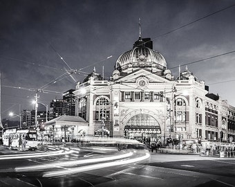 Melbourne photography fine art photograph city wallart Flinders Street Station rushhour black and white FREE SHIPPING within AUSTRALIA