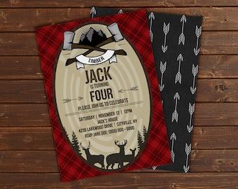 Custom Rugged Red Plaid Lumberjack Birthday Party Invitation Card - 5x7 or 4x6