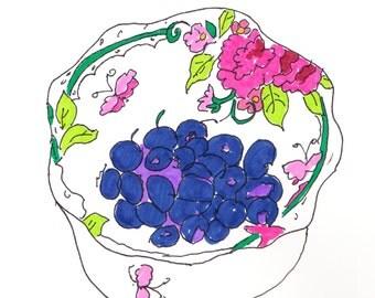 Fresh Blueberries, illustration, fine art print, whimsical, blueberries, fruit, fresh
