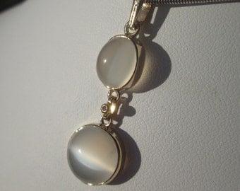14kt Gold Double Moonstone/Diamond Pendant, Grey Moonstone Pendant,  Gold Moonstone Pendant, Round/Oval Moonstone Pendant, Gemstone Pendant