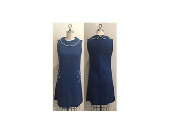 1960s Navy Linen Dress with Pockets & Scallop Detail