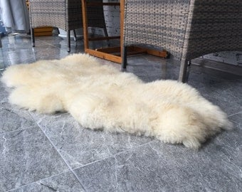 White Sheep Bedside Sheepskin rug, Warm cozy throw, original living room