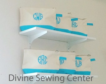 Personalized Cosmetic Bags. Monogrammed Makeup Bags. Turquoise Cosmetic Bags. Monogrammed Mother's Day Gifts. Monogrammed Bridesmaid Gifts