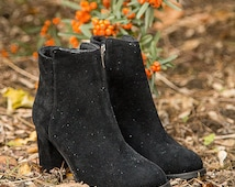 Black Suede Leather Ankle Boots, Womens Ankle Boots