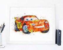 Lightning McQueen print Cars Disney Watercolor Nursery Wall decor Pixar Cars Wall Art Disney Poster Cars waterolor Disney Cars pixar art
