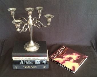 Vintage Five Candle Silverplate Candelabra And A Set Of Vintage Dracula/Vampire/Scary Books