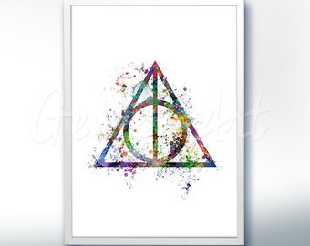 Harry Potter and the Deathly Hallows Watercolor Art Poster Print - Watercolor Painting - Watercolor Art - Kids Decor- Nursery Decor