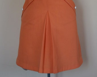 1960s cotton Summer A-line Mini Skirt front Pleat and Pockets with Welt