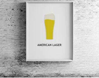 Beer American Lager, digital print, beer art, beer print, beer wall art, beer prints, beer poster,  beer decor, beer design,compassionprints