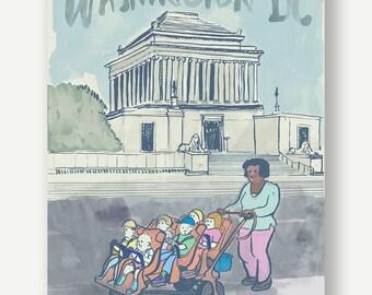 Baby strollers Scottish Rite of Freemasonry - Washington DC - Supreme Council 33º social cute daycare watercolor illustration pastel blue