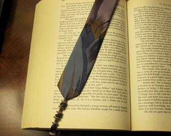 Handmade Tie Bookmark - Slate, plum, brown w/ beaded tassel