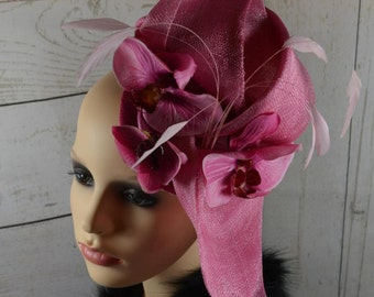 Pink Fascinator with Feathers & Flowers