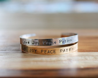 Hand Stamped Cuff Bracelet Band - Love Joy Peace Patience