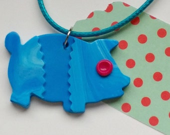 Blue Pig Pendant