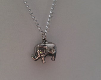 Small Silver Elephant Pendant Necklace