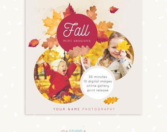Fall Mini Session Template, Photography marketing, Photoshop template, Square Fall template, Autumn photography, Leafs, Photographers