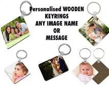 Personalised Photo Keyrings Any Image Any Text Hardwood MDF Keychain