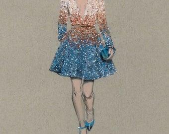 Illustration of Elie Saab Dress (print)