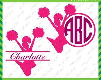 Cheerleader Monogram Split Frames SVG DXF PNG eps Cut Files for Cricut Design, Silhouette studio, Sure Cuts A Lot, Makes the cut