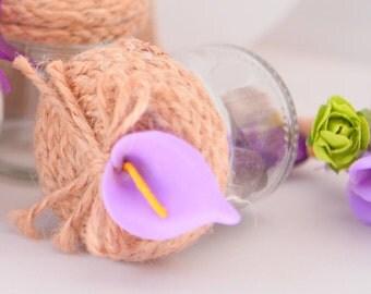 30pcs Burlap Braid Cap Favor Jar with Lily